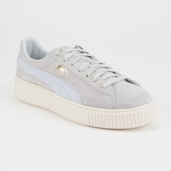 Puma suede platforms light blue RARE